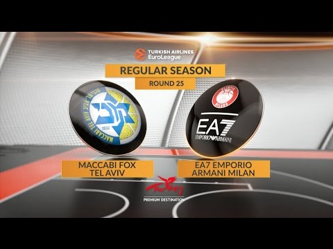 EuroLeague Highlights RS Round 25: Maccabi FOX Tel Aviv 92-82 EA7 Emporio Armani Milan