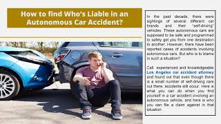 How to find Who's Liable in an Autonomous Car Accident?