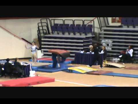 Level 10 Gymnastics skills on floor, beam, vault, and bars.