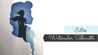 Watercolor Elsa Painting/ Begginers Disney Painting/ Disney Silhouette Painting