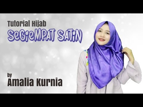 Video Tutorial Hijab Segiempat Satin Ungu | Amalia Kurnia