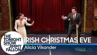 Alicia Vikander shows Jimmy how to play a Swedish game called Irish Christmas Eve, where you spin around in circles and try to destroy plates with a bow and arrow.  Subscribe NOW to The Tonight Show Starring Jimmy Fallon: http://bit.ly/1nwT1aN  Watch The Tonight Show Starring Jimmy Fallon Weeknights 11:35/10:35c Get more Jimmy Fallon:  Follow Jimmy: http://Twitter.com/JimmyFallon Like Jimmy: https://Facebook.com/JimmyFallon  Get more The Tonight Show Starring Jimmy Fallon:  Follow The Tonight Show: http://Twitter.com/FallonTonight Like The Tonight Show: https://Facebook.com/FallonTonight The Tonight Show Tumblr: http://fallontonight.tumblr.com/  Get more NBC:  NBC YouTube: http://bit.ly/1dM1qBH Like NBC: http://Facebook.com/NBC Follow NBC: http://Twitter.com/NBC NBC Tumblr: http://nbctv.tumblr.com/ NBC Google+: https://plus.google.com/+NBC/posts  The Tonight Show Starring Jimmy Fallon features hilarious highlights from the show including: comedy sketches, music parodies, celebrity interviews, ridiculous games, and, of course, Jimmy's Thank You Notes and hashtags! You'll also find behind the scenes videos and other great web exclusives.  Alicia Vikander Teaches Jimmy a New Swedish Game http://www.youtube.com/fallontonight