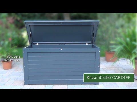 Kissentruhe CARDIFF - wasserdichte Auflagentruhe - Gartentruhe mit  25 Jahren Garantie