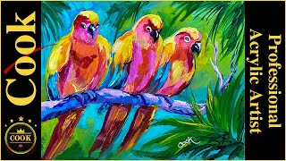 Three Colorful Birds In The Rain Forest  Acrylic Easy Tutorial