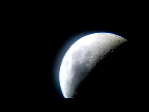 Moon seen through a GSI 76mm x 700mm reflecting telescope