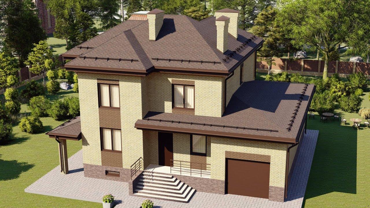 Большой двухэтажный загородный дом из кирпича, с гаражом на один автомобиль