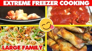 EXTREME FREEZER COOKING | Baked Egg Rolls, Chicken Pot Pie + Freezer Meal Recipes!