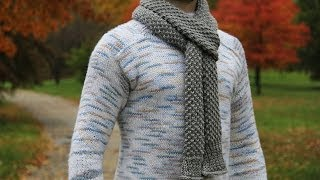 How to knit men's scarf - video tutorial with detailed instructions.