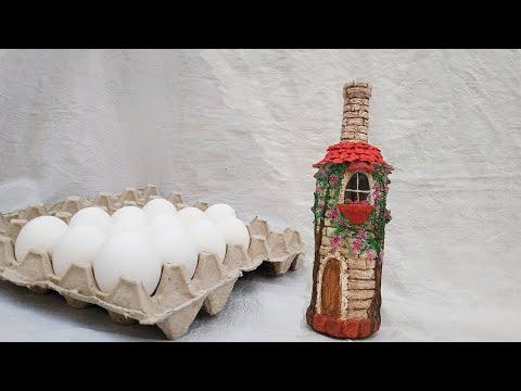 Из яичных лотков и скорлупы сделала настоящую красоту -  декор бутылки. Идеи декора бутылок