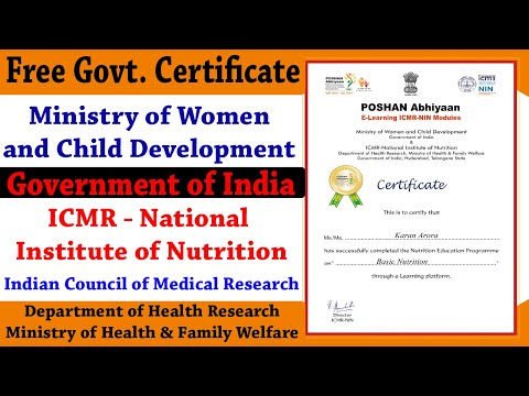 Free Govt Certificate - ICMR National Institute of Nutrition