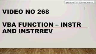 Learn Excel - Video 268- VBA FUNCTION INSTR & INSTRREV