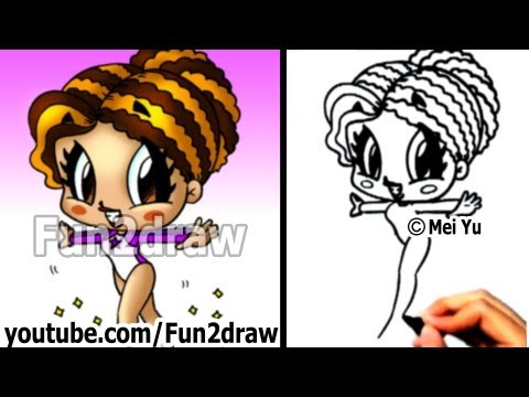 How to Draw Cartoon People - Gymnast Girl - Drawing Lessons - Learn to Draw - Fun2draw