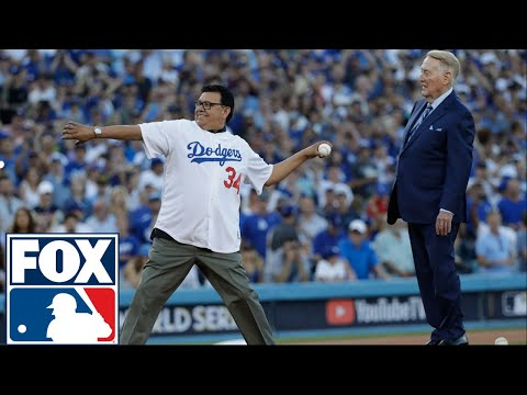 Vin Scully, Fernando Valenzuela throw out 1st pitch before Game 2 | 2017 MLB Playoffs | FOX MLB