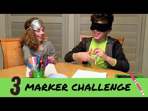 3 Marker Challenge (Sis VS Bro) | Family Fun Drawing Game