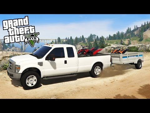Ford F350 Super Duty 4x4 Towing Challenge! Hauling 2 ATVs Off-Road & Mudding! (GTA 5 PC Mods)