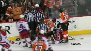 preview picture of video 'Brawl in 1st. Simmonds, Schenn, Erskine,  Washington Capitals vs Philadelphia Flyers  3/5/14'