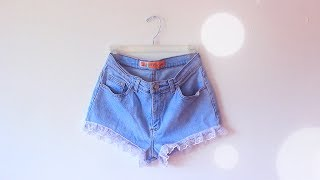 DIY High Waisted Lace Trim Shorts #DIYGawd