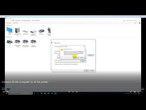 Connect 64 bit computer to 32 bit printer Windows 10