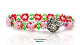 Crystal 2 Layer Flower Bracelet (Reversible) - DIY Jewelry Making Tutorial By PotomacBeads