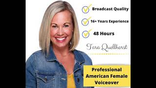 I will create a professional American female voiceover from my in-home sound studio.