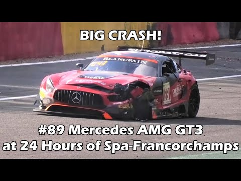 BIG CRASH! #89 Mercedes AMG GT3 at 24 Hours of Spa-Francorchamps 2018