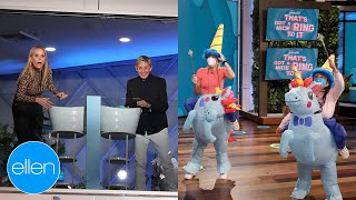 Cheryl Hines & Ellen Play Ring Toss with Unicorns for Charity!