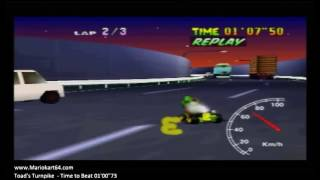 """Mario kart 64 - Time Trials - Toad's Turnpike Double PR 01'00""""56 - 03'04""""28 [N64 PAL]"""