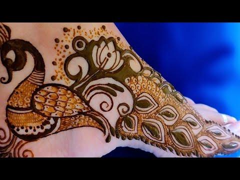 beautiful peacock feet mehndi design by aaru mehndi