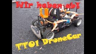 FPV Drone + Rc Car Zwitter TAMIYA TT01DRONECAR hebt ab