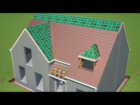 Toiture et isolation d'un toit en 3D d'une maison individuelle - Je construis ma maison avec