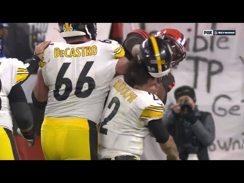 Browns - Steelers Brawl After Tonight's Game. When you hit a dude with his own helmet