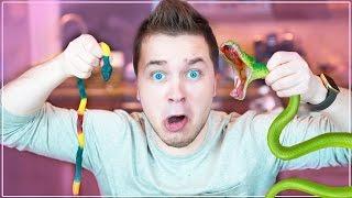 Gummy Food vs. Real Food Challenge! *EATING A SNAKE* Gross Real Food Candy Challenge