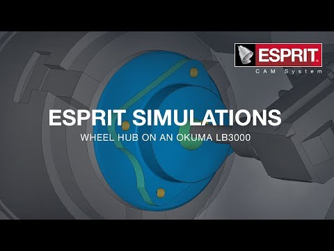 ESPRIT simulation of a wheel hub on an Okuma LB3000