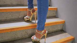 Review Walking In Pleaser ECLIPSE-619G Gold Plated 6.5 Inch High Heel Shoes With Multiglitter Straps