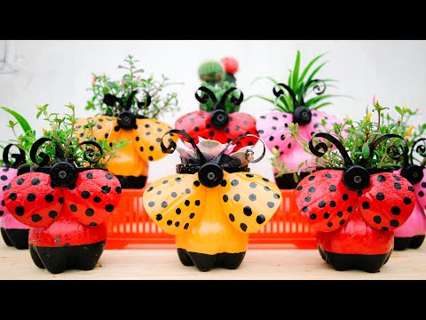 Recycle Plastic Bottles into Beautiful Ladybug Flower Pots for Your Garden