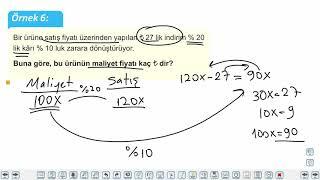 Eğitim Vadisi TYT Matematik 25.Föy Kâr-Zarar Problemleri Konu Anlatım Videoları
