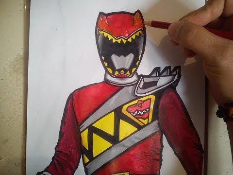 HOW TO DRAW POWER RANGER DINO CHARGE RED / como dibujar power ranger dino charge rojo