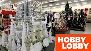 HOBBY LOBBY CHRISTMAS SHOPPING STORE WALK THROUGH - Christmas Trees Decorations Home Decor