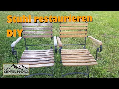 Gartenmöbel auffrischen: Holz-Stuhl abschleifen und ölen