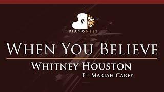 Whitney Houston Ft. Mariah Carey   When You Believe   HIGHER Key (Piano Karaoke  Sing Along)
