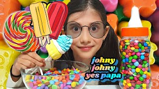 JOHNY JOHNY YES PAPA Song With M&Ms Candy/ Learning Colors With Lollipops