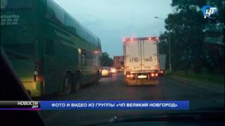На федеральной трассе М-10 под Чудово автомобилисты стоят в пробке по 6 часов