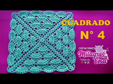 Como Hacer Cuadros De Crochet Para Mantas.Cuadrado A Crochet Paso A Paso En Punto Abanicos Para Colchas Y