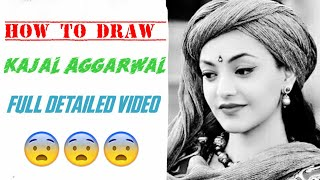 how to draw ???? kajal Aggarwal???? realistick !!! full drawing video