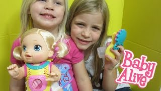 BABY ALIVE Go Bye-Bye Doll Unboxing + Feeding + Changing Video With Elsa And Maddy