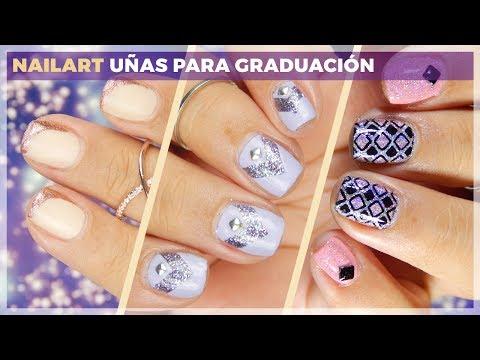 3 diseños de uñas para graduación o fiesta - Tutorial Nail Art