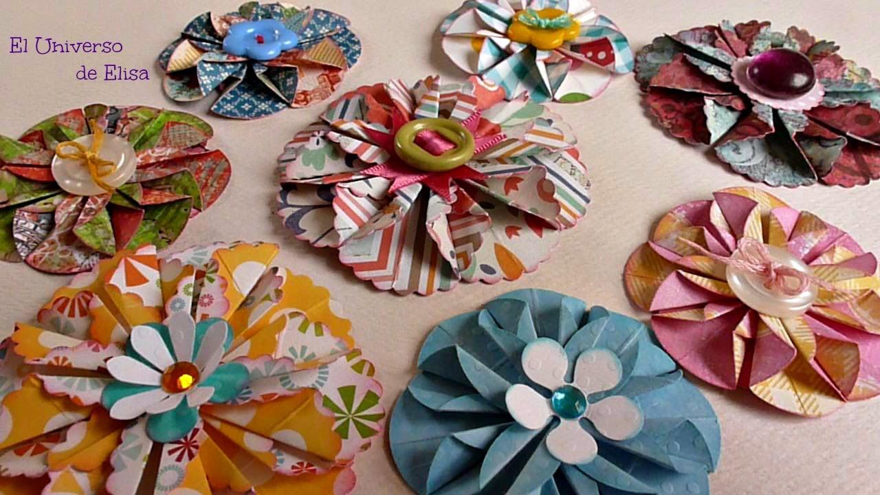 Flores de Papel Scrapbooking,  Flores para tu Organizador Magnético, Porta Make Magnético