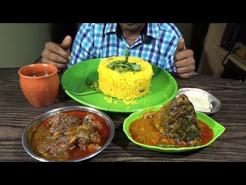 Eating Turmeric Fried Rice With Chicken Kasha, Katla Fish