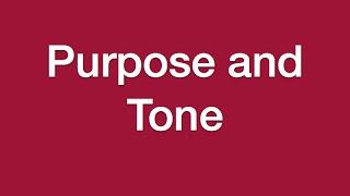 Lesson 7 - Purpose And Tone