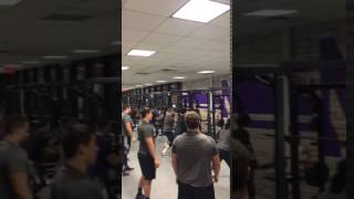 Northwestern Football Waking Up Their Upper Body Pre Workout with The Difference Striking Machine